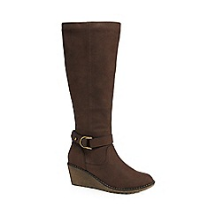 Mantaray - Brown 'Macchiato' mid wedge heel knee high boots