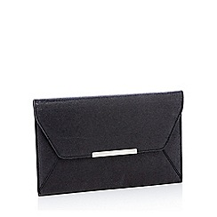 Faith - Black glitter 'Party' envelope clutch bag