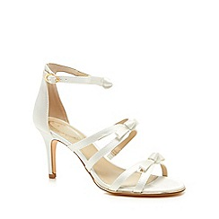 Debut - Ivory satin 'Drew' mid stiletto heel ankle strap sandals