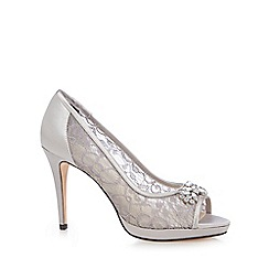 Debut - Silver lace 'Doreen' high stiletto heel peep toe shoes