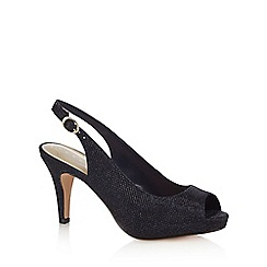 Debut - Navy 'Dashing' high heel wide fit peep toe shoes