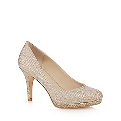 Debut - Gold glitter 'Dobbie' high stiletto heel court shoes