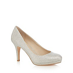 Debut - Silver glitter 'Dobbie' high stiletto heel court shoes