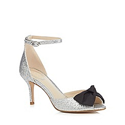 Debut - Silver glittered 'Danna' mid stiletto heel ankle strap sandals