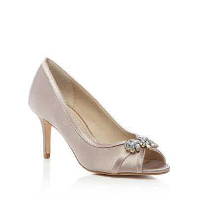 f475a749cbe4 Debut Light pink satin  Dara  high stiletto heel peep toe shoes ...