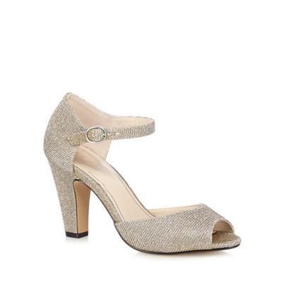 Debut - Metallic \u0027Dea\u0027 high block heel peep toe sandals
