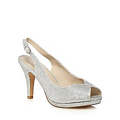 Debut - Silver 'Dale' high stiletto heel peep toe sandals