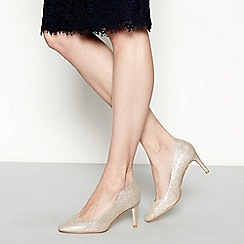 Debut - Gold glittered 'Dawson' high stiletto heel court shoes