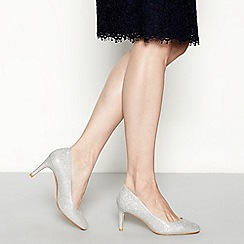 Debut - Silver glittered 'Dawson' high stiletto heel court shoes