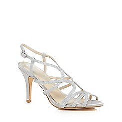 Debut - Silver 'Dias' mid stiletto heel wide fit sandals