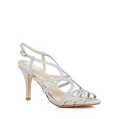 Debut - Silver 'Dias' mid stiletto heel wide fit sandals