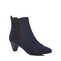 Faith - Navy suedette 'bev' mid block heel Chelsea boots