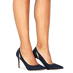 Faith - Navy suedette 'Collie' high stiletto heel pointed shoes