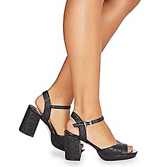 Faith - Black glitter 'Dorothy' high heel wide fit ankle strap sandals