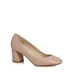 Principles by Ben de Lisi - Beige patent mid block heel court shoes