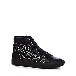 Nine by Savannah Miller - Black 'Serah' star studded high top trainers