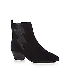Nine by Savannah Miller - Black suede 'Shade' mid block heel ankle boots