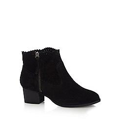 Nine by Savannah Miller - Black suede 'Shaba' mid block heel ankle boots