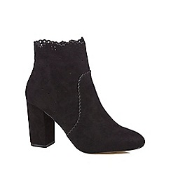 Nine by Savannah Miller - Black suedette 'Shanie' high block heel ankle boots