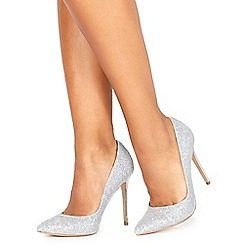 Faith - Silver glitter 'Chloe Party' high stiletto heel pointed shoes