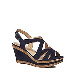 Good for the Sole - Navy suedette 'Gilly' high wide fit ankle strap sandals