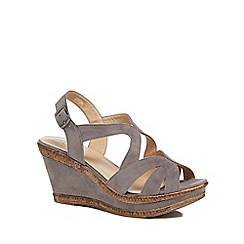 Good for the Sole - Grey suedette 'Gilly' high heel wide fit ankle strap sandals