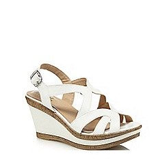 Good for the Sole - White 'Gilly' high heel wide fit ankle strap sandals