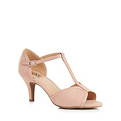 Good for the Sole - Light pink suedette 'Gio' high stiletto heel wide fit t-bar sandals