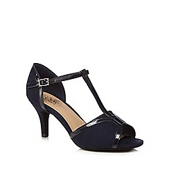 Good for the Sole - Navy suedette 'Gio' high stiletto heel wide fit t-bar sandals