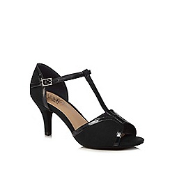 Good for the Sole - Black suedette 'Gio' high stiletto heel wide fit t-bar sandals