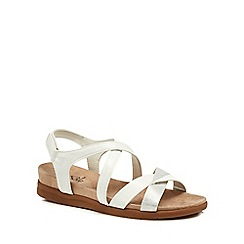 Good for the Sole - White 'George' wide fit ankle strap sandals
