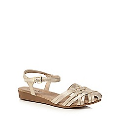 Good for the Sole - Gold 'Gloria Hurach' wide fir ankle strap sandals
