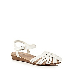 Good for the Sole - White 'Gloria Hurach' wide fit ankle strap sandals