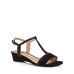 Good for the Sole - Black suedette 'Georgette' mid wedge heel wide fit t-bar sandals