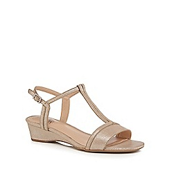 Good for the Sole - Beige 'Georgette' mid wedge heel wide fit t-bar sandals