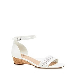Good for the Sole - White 'Gigi' mid wedge heel wide fit ankle strap sandals