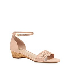 Good for the Sole - Pink 'Gigi' mid wedge heel wide fit ankle strap sandals