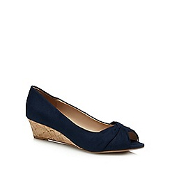 Good for the Sole - Navy suedette 'Gollie' mid heel wide fit peep toe shoes