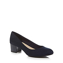 Good for the Sole - Navy suedette 'Gianna' mid heel wide fit court shoes