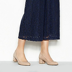 Good for the Sole - Nude patent 'Gianna' mid heel wide fit court shoes