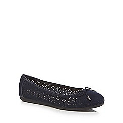 Good for the Sole - Navy suedette 'Giggle' laser cut wide fit ballet pumps
