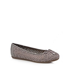 Good for the Sole - Grey laser cut 'Giggle' wide fit ballet pumps