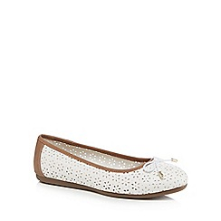 Good for the Sole - White 'Giggle' laser cut wide fit ballet pumps