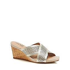 Good for the Sole - Gold diamante 'Glaze' high wedge heel wide fit sandals