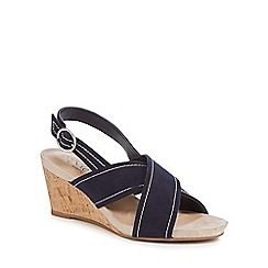 Good for the Sole - Navy suedette 'Gloss' mid wedge heel wide fit ankle strap sandals