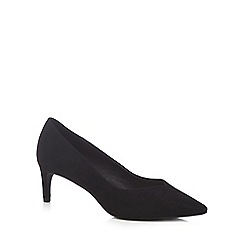 The Collection - Black suedette 'Cherub' mid kitten heel pointed shoes