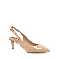 The Collection - Nude patent 'Christian' mid heel slingbacks