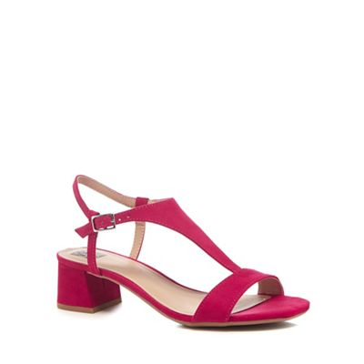 The Collection   Bright Pink Suedette 'cradle' Mid Block Heel T Bar Sandals by The Collection