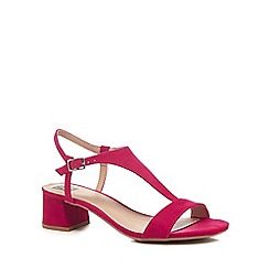 The Collection - Bright pink suedette 'Cradle' mid block heel t-bar sandals