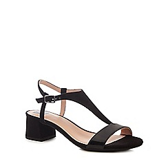 The Collection - Black suedette 'Cradle' mid block heel t-bar sandals